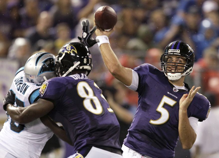 ASSOCIATED PRESS Baltimore Ravens quarterback Joe Flacco (5) throws a pass against the Carolina Panthers during the first half of an NFL preseason football game, Thursday, Aug. 12, 2010, in Baltimore.