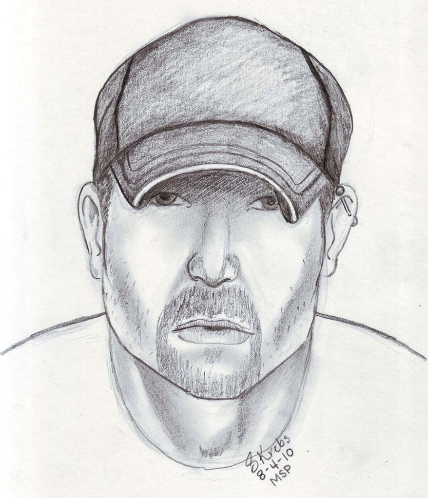 This image provided by the Michigan State Police shows a composite sketch of a man they say is the Flint Stabbing Suspect. Authorities in Atlanta arrested a man in connection with a three-state serial stabbing spree that resulted in at least 20 attacks and five deaths. Police in Leesburg, Va., said in a statement on Thursday, Aug. 12, 2010, that the man was arrested late Wednesday afternoon and was being held on unrelated charges. (AP photo/Michigan State Police)