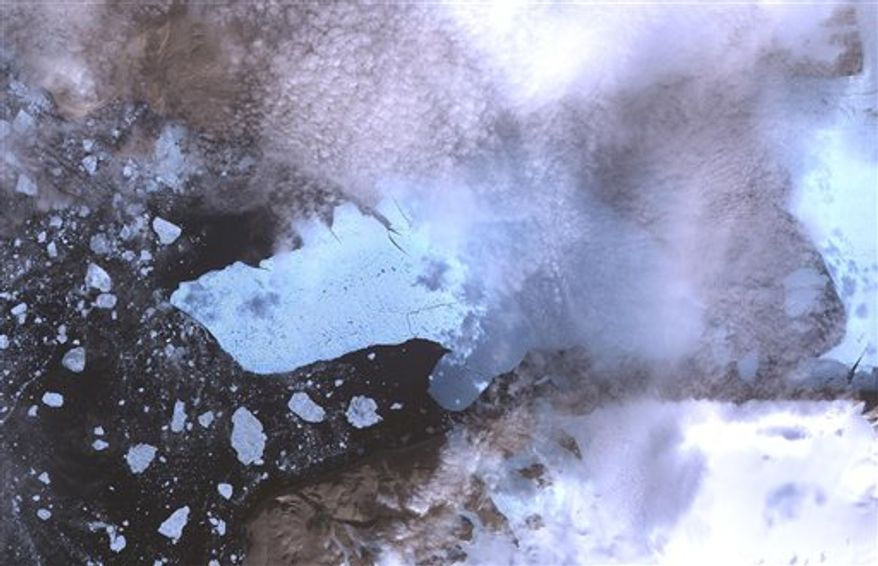 This image provided by NASA of the Petermann Glacier and the new iceberg was acquired from the Advanced Spaceborne Thermal Emission and Reflection Radiometer (ASTER) instrument on NASA's Terra spacecraft on Thursday Aug. 12, 2010. It covers an area of 49.5 by 31.5 kilometers (30.7 by 19.5 miles), four times the size of New York's Manhattan island. According to scientists the recently calved iceberg is the largest to form in the Arctic in 50 years. (AP Photo/NASA)