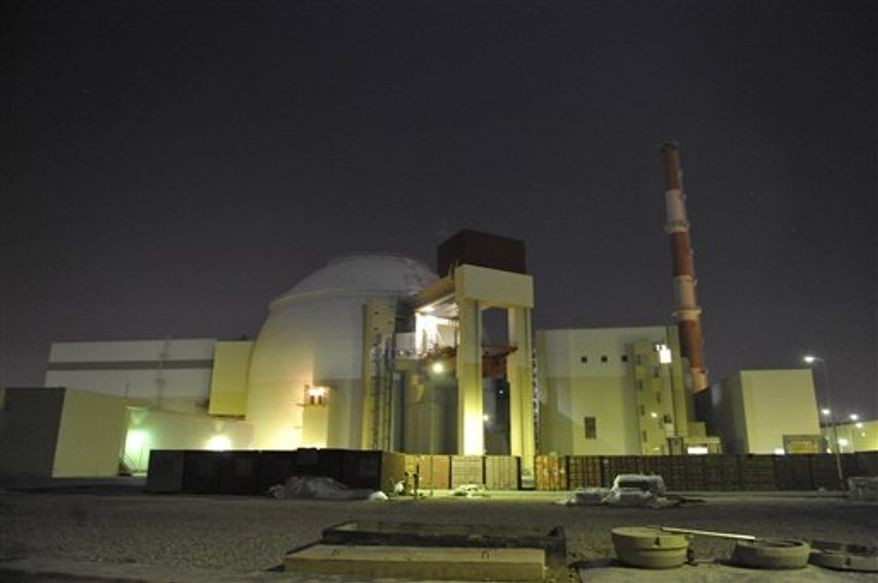 FILE - In this photo released by the semi-official Iranian Students News Agency (ISNA), the reactor building of Iran's Bushehr Nuclear Power Plant is seen, just outside the port city of Bushehr 750 miles (1245 kilometers) south of the capital Tehran, Iran, in this Nov. 30, 2009 file photo. Russia's nuclear agency spokesman Sergei Novikov said Friday Aug. 13, 2010  it will load fuel into Iran's first nuclear power plant next week, marking the start of its launch. (AP Photo/ISNA, Mehdi Ghasemi)  EDITORIAL USE ONLY, NO SALES