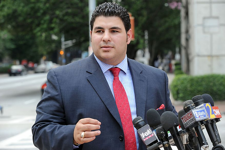 Michigan attorney Edwar Zeineh, representing Elias Abuelazam, speaks outside of Fulton County Superior Court on Friday, Aug. 13, 2010, in Atlanta. Abuelazam, an Israeli citizen, is suspected in several stabbing attacks in Michigan, Ohio and Virginia. He was arresting at Atlanta Hartsfield Jackson International Airport before boarding a flight to Israel. (AP Photo/Erik S. Lesser)