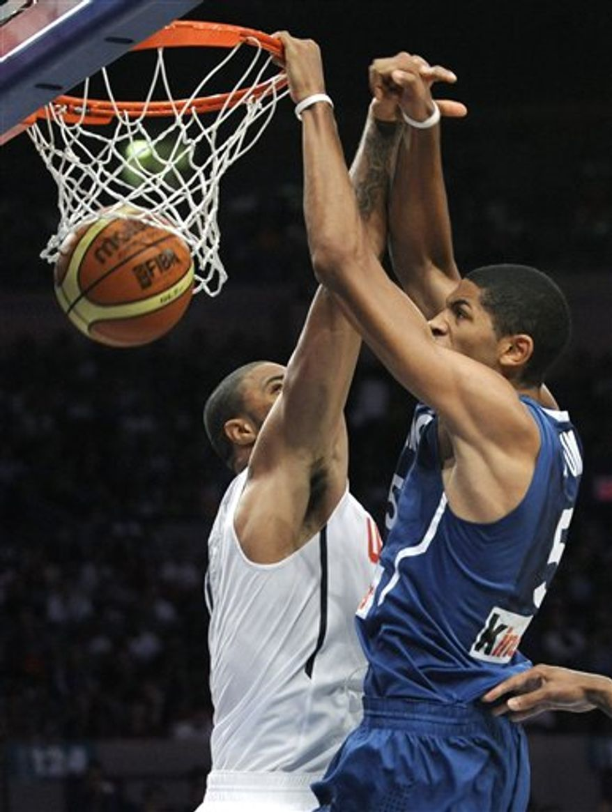 United States guard Rudy Gay goes up for a dunk during the third quarter of an exhibition basketball game against France Sunday, Aug. 15, 2010 at Madison Square Garden in New York.  (AP Photo/Bill Kostroun)