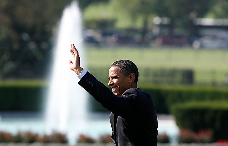 President Obama waves as he walks across the South Lawn of the White House in Washington, Monday, Aug. 16, 2010, as he travels to Wisconsin and California. (AP Photo/Charles Dharapak)