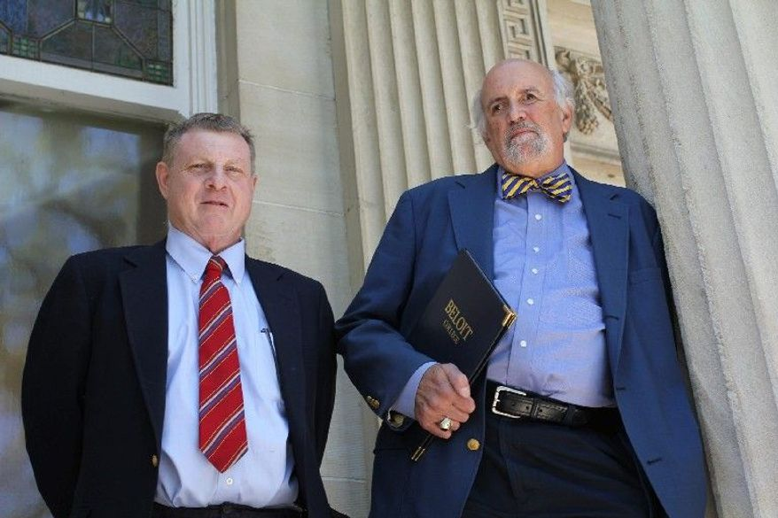 Tom McBride (left) and Ron Nief have been assembling the Beloit College Mindset List for 13 years to remind teachers about a generation gap in cultural references. (Beloit College via Associated Press)