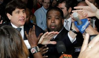 PUGNACIOUS: Former Illinois Gov. Rod R. Blagojevich (left) was convicted in a Chicago federal court on Tuesday on one felony count of lying to the FBI. The jury could not reach on a verdict on 23 other counts. (Associated Press)