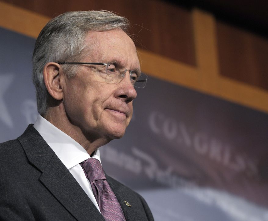 Senate Majority Leader Harry Reid of Nevada, speaks during a press conference on energy, on Capitol Hill in Washington, Tuesday, Aug. 3, 2010. (AP Photo/Susan Walsh)