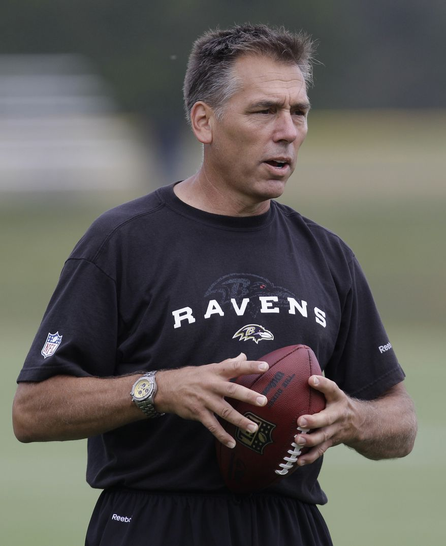 ASSOCIATED PRESS FILE - This July 28, 2010, file photo shows Baltimore Ravens quarterbacks coach Jim Zorn at the team's training camp in Westminster, Md. Ravens quarterbacks coach Jim Zorn will be working with the enemy Saturday night for a preseason game against the Washington Redskins, the team that fired him as head coach in January after two mediocre seasons.