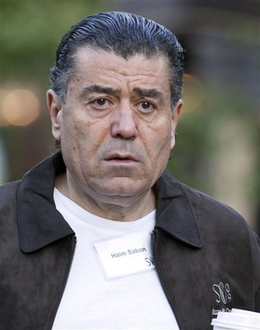 FILE -In this July 8, 2009 file photo, Haim Saban, Chairman and CEO of the Saban Capitol Group, arrives for a media summit in Sun Valley, Idaho. Saban has bought Paul Frank Industries, the owner of the Julius monkey brand and other characters, for an undisclosed sum. (AP Photo/Nati Harnik, File)