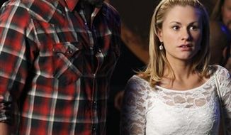 """In this publicity image released by HBO, Joe Manganiello, left, and Anna Paquin are shown in a scene from """"True Blood."""" (AP Photo/HBO, John P. Johnson)"""