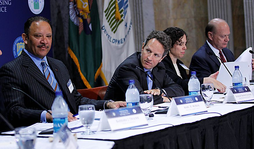 Treasury Secretary Timothy Geithner, second from left, hosts a Conference on the Future of Housing Finance, Tuesday, Aug. 17, 2010, at the Treasury Department in Washington. From left are National Urban League President and CEO Marc Morial, Mr. Geithner, Ingrid Gould Ellen of New York University, and Alex Pollock of the American Enterprise Institute. (AP Photo/Pablo Martinez Monsivais)