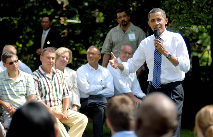 ASSOCIATED PRESS President Obama asks voters to see the bright spots in the economy on Wednesday at the home of Rhonda and Joe Weithman in Columbus, Ohio. He says that will help the recovery.