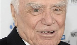 "FILE - In a Thursday, April 22, 2010 photo, actor Ernest Borgnine arrives at the premiere of the newly restored feature film ""A Star Is Born"" in Los Angeles. Borgnine will be honored for lifetime achievement by the Screen Actors Guild. The Oscar-winning actor will receive the award for career achievement and humanitarian accomplishment at the 17th annual SAG Awards in Los Angeles on Jan. 30, 2011.  (AP Photo/Dan Steinberg, File)"