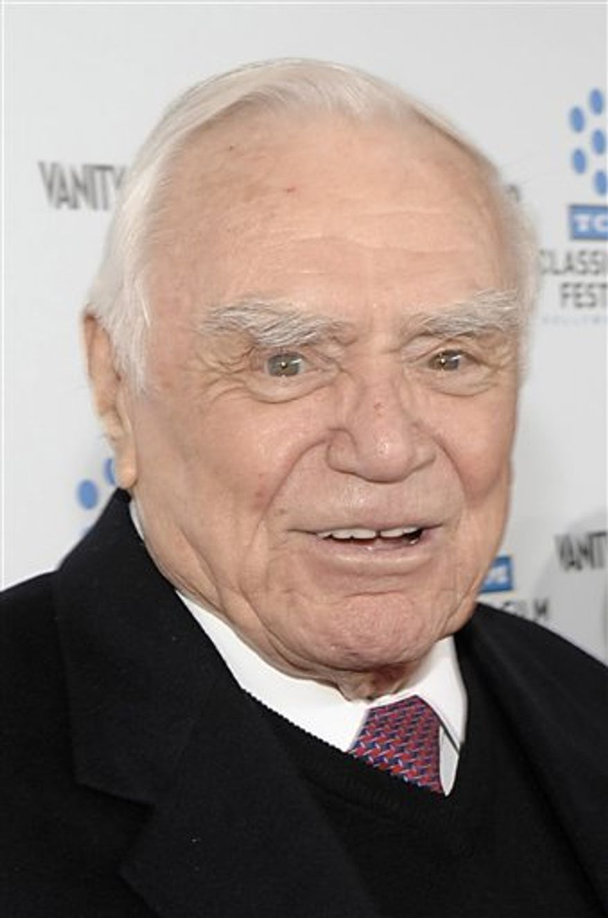 """FILE - In a Thursday, April 22, 2010 photo, actor Ernest Borgnine arrives at the premiere of the newly restored feature film """"A Star Is Born"""" in Los Angeles. Borgnine will be honored for lifetime achievement by the Screen Actors Guild. The Oscar-winning actor will receive the award for career achievement and humanitarian accomplishment at the 17th annual SAG Awards in Los Angeles on Jan. 30, 2011.  (AP Photo/Dan Steinberg, File)"""