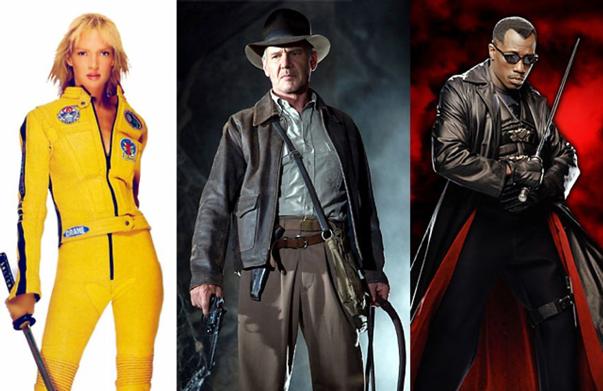 "Uma Thurman in ""Kill Bill,"" Harrison Ford in ""Indiana Jones and The Kingdom of the Crystal Skull"" and Wesley Snipes in ""Blade."""