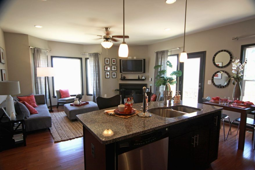 The Astoria model has an open family room. Buyers can add a fireplace.