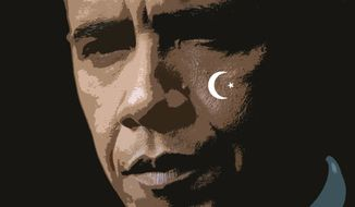 Illustration: Obama crescent by Greg Groesch for The Washington Times