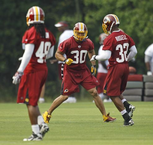 ASSOCIATED PRESS Washington Redskins safety LaRon Landry, (30), does a drill with teammate Anderson Russell, (32) during the last day of their NFL football training camp at Redskins Park in Ashburn, Va., Thursday, Aug. 19, 2010.