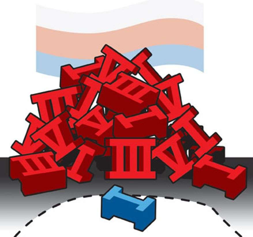 Illustration: Russian arms by Linas Garsys for The Washington Times