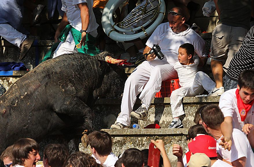 In this Wednesday, Aug. 18, 2010 picture made available Thursday, Aug 19. 2010 a bull charges against spectators after leaping into the stands during a bullfight in Tafalla, northern Spain.Up to forty people were injured when a bull leapt into the packed grandstands of a Spanish bullring and ran amok, charging and trampling on spectators. (AP Photo/Manuel Sagues)