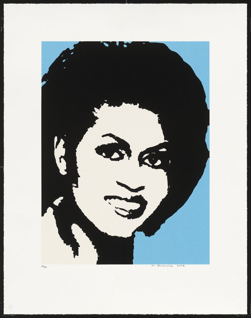 """This undated handout image provided by the Smithsonian's National Portrait Gallery shows a screenprint of first lady Michelle Obama by Mickalene Thomas. Move over Martha Washington. Martha Stewart is taking her place in the National Portrait Gallery in Washington. The museum's new exhibit, """"Americans Now,"""" opened Friday, featuring some famous names from science, business, government, entertainment and the arts. Images of President Barack Obama and first lady Michelle Obama are among the portraits. (AP Photo/Smithsonian, Mickalene Thomas)"""