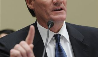FILE -- This is a May 1, 2009, file photo showing Mountain West Conference Commissioner Craig Thompson testifying before the House Commerce, Trade, and Consumer Protection Subcommittee hearing on the football Bowl Championship Series on Capitol Hill in Washington. Thompson said Wednesday Aug. 18, 2010 the latest expansion of the Mountain West Conference wasn't a pre-emptive strike if BYU does decide to leave the Western Athletic Conference.  (AP Photo/Susan Walsh, File)