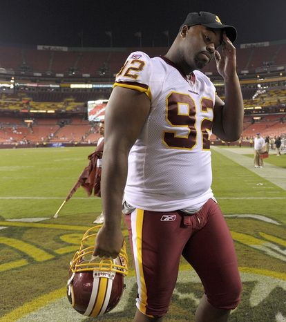 ASSOCIATED PRESS Washington Redskins defensive lineman Albert Haynesworth walks off the field after an NFL preseason football game against the Baltimore Ravens in Landover, Md., on Saturday, Aug. 21, 2010. Baltimore defeated Washington 23-3.