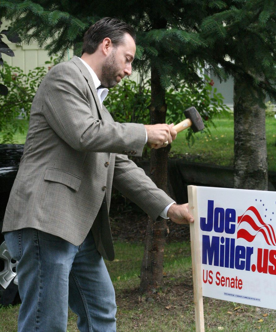 """Senate candidate Joe Miller has been campaigning door to door in Anchorage, Alaska. Mr. Miller has the support of the """"tea party"""" movement and the backing of former Alaska Gov. Sarah Palin. (Associated Press)"""