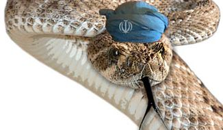 Illustration: Iran rattler by Greg Groesch for The Washington Times