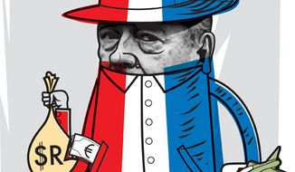 Illustration: Chirac by Linas Garsys for The Washington Times