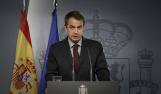 ** FILE ** Spain's Prime Minister Jose Luis Rodriguez Zapatero talks during a brief press conference in Madrid, on Monday, Aug. 22, 2010.  (AP Photo/Daniel Ochoa de Olza)