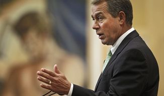 House Minority Leader John A. Boehner, Ohio Republican, speaks on jobs and the economy at the City Club of Cleveland on Tuesday, Aug. 24, 2010. (AP Photo/Mark Duncan)
