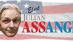 Illustration: Elect Assange by Greg Groesch for The Washington Times