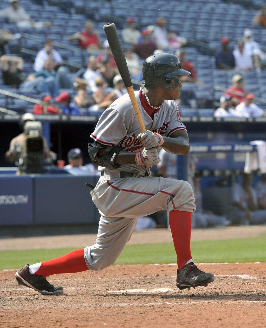 ASSOCIATED PRESS Washington Nationals' Nyjer Morgan grounds out to shortstop during the ninth inning of a baseball game against the Atlanta Braves, Thursday, Aug. 19, 2010, at Turner Field in Atlanta. The Nationals won 6-2.