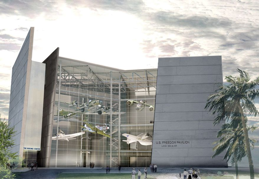 ASSOCIATED PRESS PHOTOGRAPHS This Boeing-provided artist rendering shows what the U.S. Freedom Pavilion will look like upon completion. One of Boeing Co.'s most famous World War II aircraft will be the focus of an exhibit in the National World War II Museum addition.