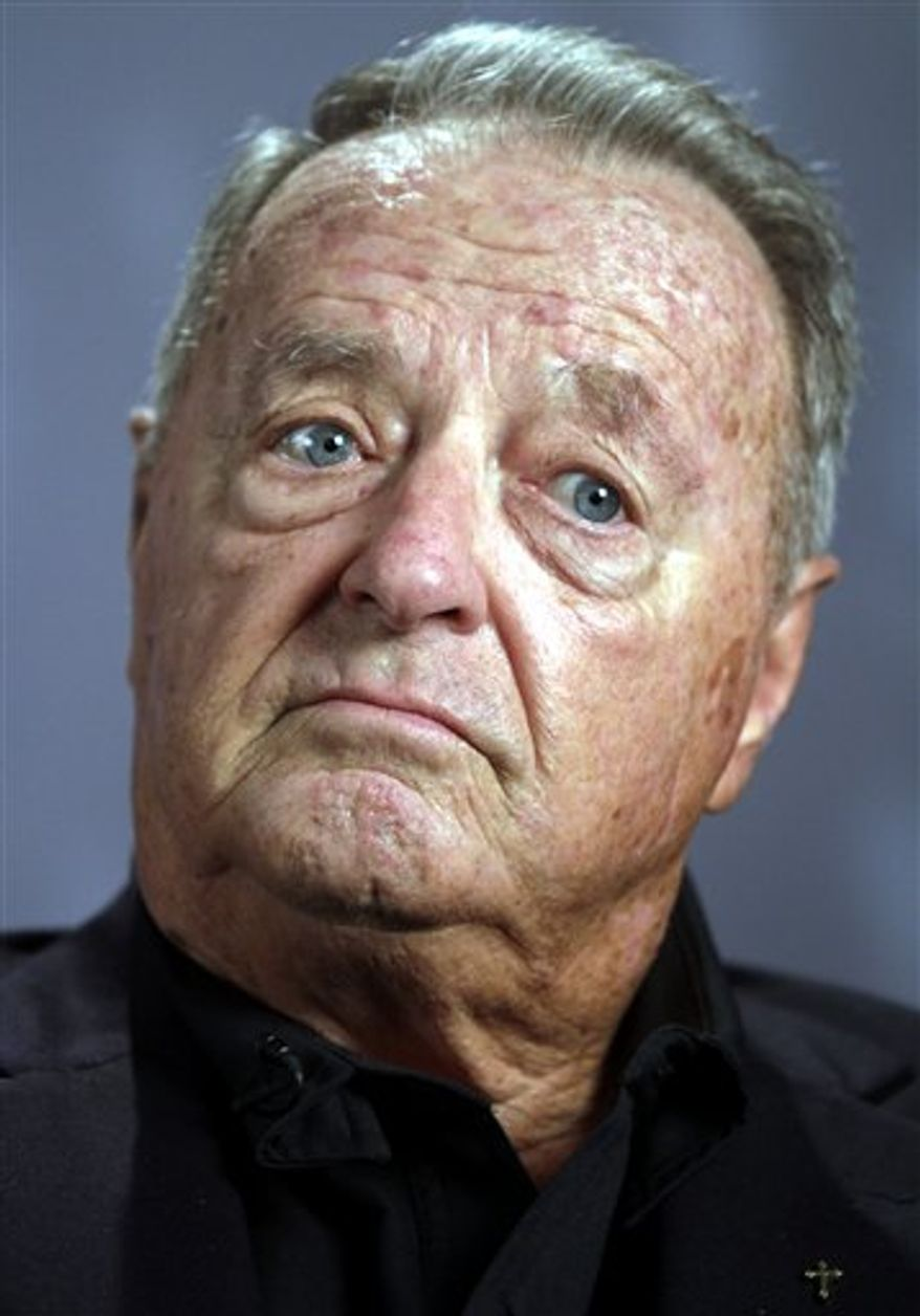 """Former Florida State college football coach Bobby Bowden reacts during an interview in New York, Tuesday, Aug. 24, 2010.  Bowden tells The Associated Press he was """"pushed out"""" after 34 years as Florida State coach and that his relationship with former university president T.K. Wetherell is likely beyond repair.  (AP Photo/Bebeto Matthews)"""