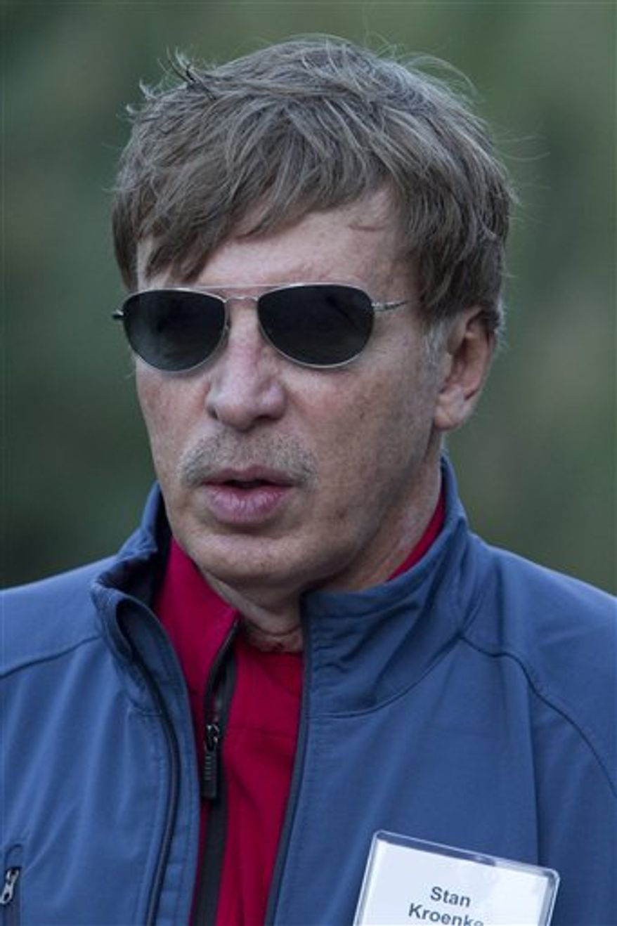 FILE - In aJuly 8, 2010, file photo, Stan Kroenke, of the Kroenke group, attends the annual Allen & Co. Media summit in Sun Valley, Idaho. NFL football owners on Wednesday, Aug. 25, 2010, unanimously approved Kroenke's proposal to purchase majority ownership of the St. Louis Rams, assuming he turns over control of two other teams he owns--the NBA's Denver Nuggets and the NHL's Colorado Avalanche--to his son. (AP Photo/Nati Harnik, File)