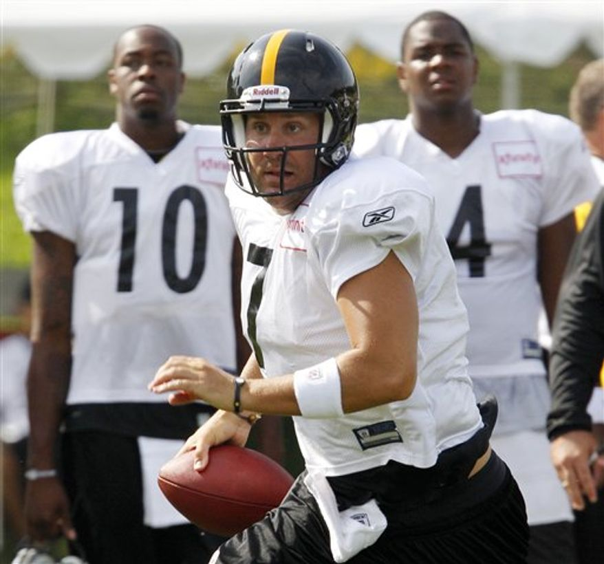 FILE - In this Aug. 9, 2010, file photo, Pittsburgh Steelers quarterback Ben Roethlisberger, center, scrambles out of the pocket as fellow quarterbacks Dennis Dixon (10) and Byron Leftwich (4) look on during NFL football training camp in Latrobe, Pa.  Ex-Steelers coach Bill Cowher says it was hard to get through to Ben Roethlisberger after the quarterback's early success. But he believes Roethlisberger is finally maturing after a sexual assault investigation led to his suspension at the start of the season. (AP Photo/Gene J. Puskar, File)