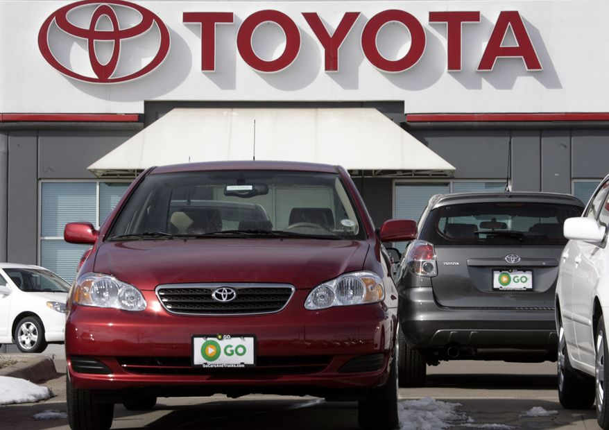 In this Feb. 5, 2007, file photo, a 2007 Toyota Corolla sedan and Matrix wagon sit on the lot at a Toyota dealership in the southeast Denver suburb of Centennial, Colo. Toyota said Thursday, Aug. 26, 2010, it is recalling more than a million Corolla sedans and Matrix hatchbacks with engines that may stall. (AP Photo/David Zalubowski, file)
