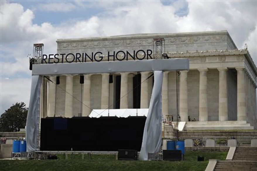 "The stage is being set for the Glenn Beck ""Restoring Honor"" rally in front of the Lincoln Memorial in Washington Wednesday, Aug. 25, 2010.  The rally being held on Saturday.  (AP Photo/Alex Brandon)"