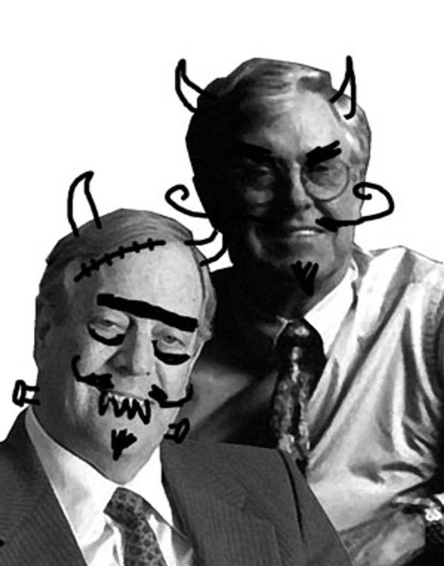 Illustration: Leftist attack on David and Charles Koch