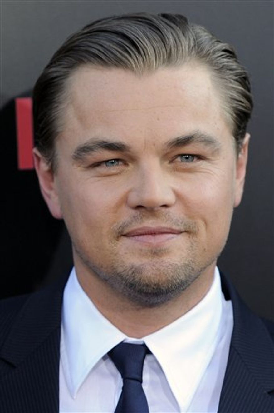 """FILE - In this July 13, 2010 file photo, Leonardo DiCaprio poses at the premiere of the film """"Inception"""" in Los Angeles. (AP Photo/Chris Pizzello, file)"""