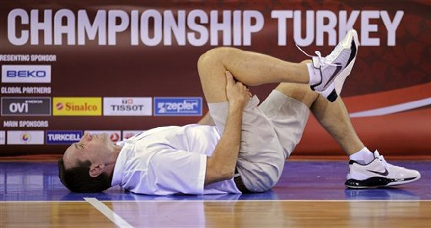 USA's Rudy Gay shoots a basket during practice for the World Basketball Championship, in Istanbul, Turkey, Friday, Aug. 27, 2010. (AP Photo/Mark J. Terrill)