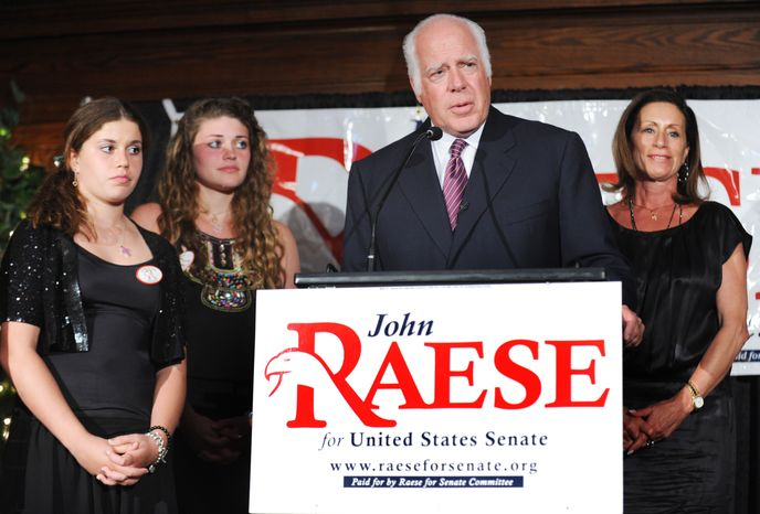 Businessman John Raese, flanked by his daughters, from left, Agnes and Jane, and wife, Liz, addresses his supporters at the Hotel Morgan after being declared the Republican winner in the West Virginia primary, Saturday, Aug. 28, 2010 in Morgantown, W.Va. Raese, a wealthy businessman, defeated a crowded field of GOP candidates. He now becomes key to the GOP's quest to dismantle the Democratic Senate majority. Democrats are clinging to the majority as high unemployment and the slow economic recovery take a toll on their political prospects this fall. (AP Photo/Dale Sparks)