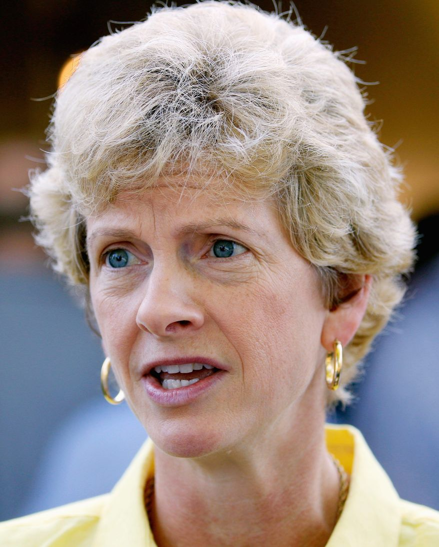 Democratic Senate candidate Robin Carnahan talks to members of the media during the Governor's Ham Breakfast at the Missouri State Fair Thursday, Aug. 19, 2010 in Sedalia, Mo. (AP Photo/Charlie Riedel)