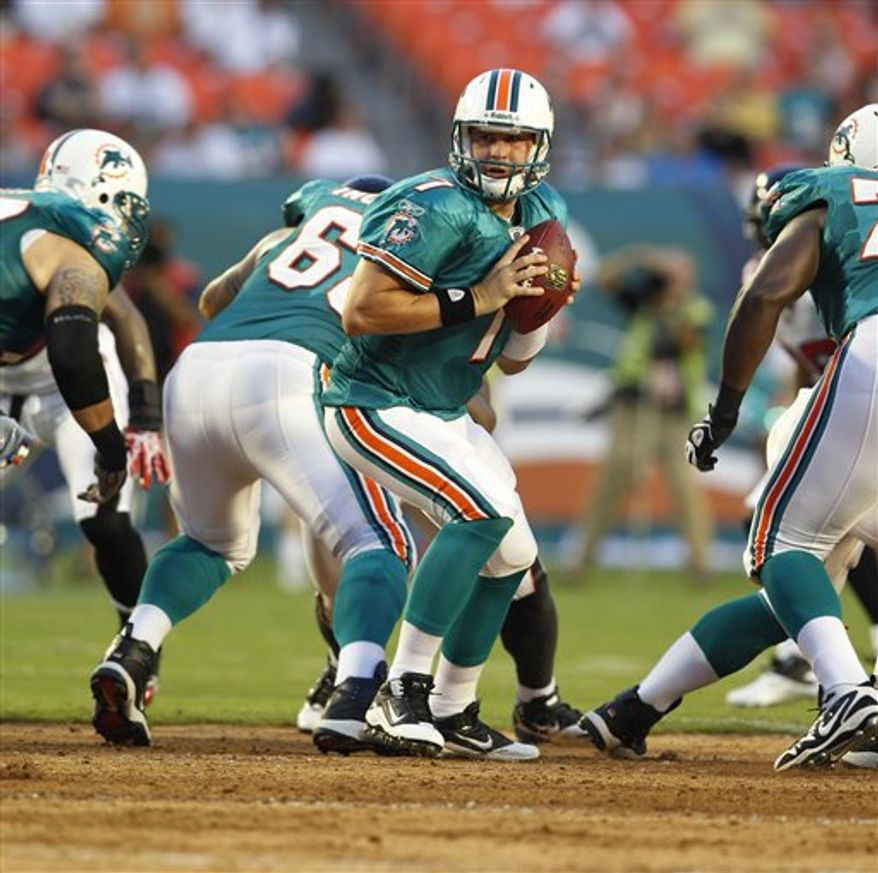 Miami Dolphins quarterback Chad Henne (7) runs a  play against the Atlanta Falcons during first quarter NFL preseason football action in Miami, Friday, Aug. 27, 2010. (AP Photo/Wilfredo Lee)