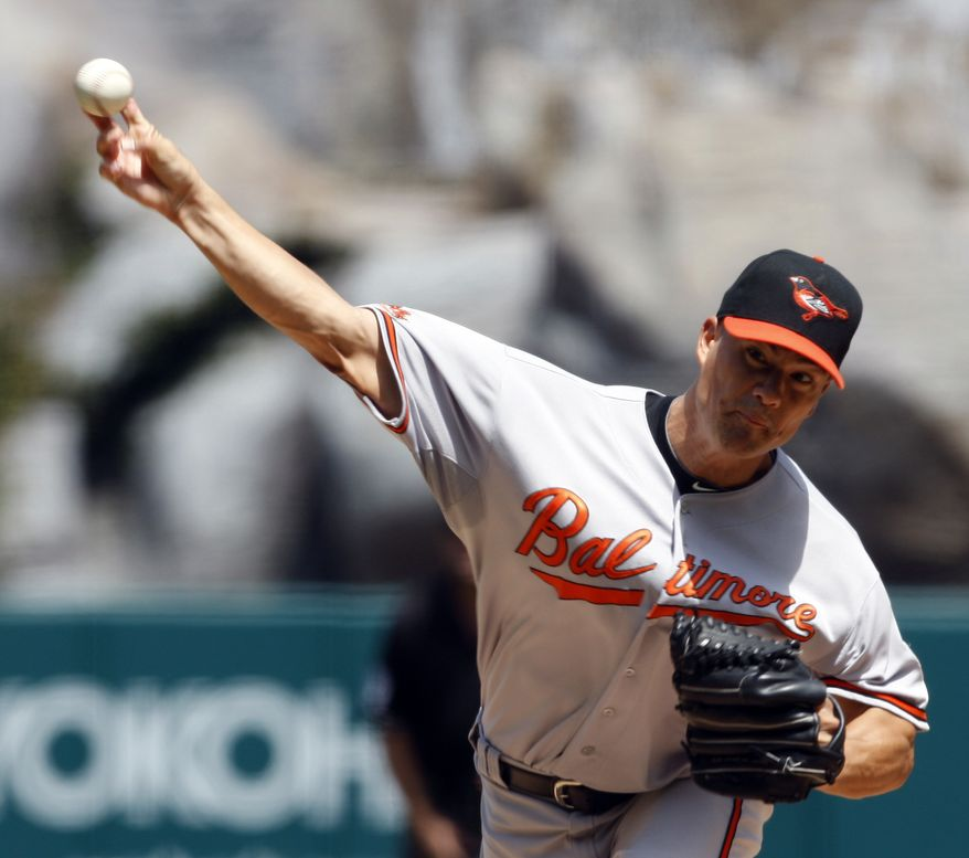 ASSOCIATED PRESS Baltimore Orioles' Jeremy Gutherie pitches against the Los Angeles Angels in the first inning of a baseball game in Anaheim, Calif., on Sunday, Aug. 29, 2010.