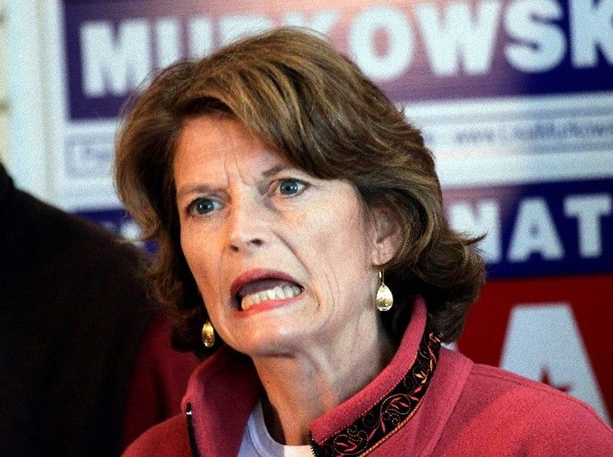 Sen. Lisa Murkowski, Alaska Republican, trails little-known challenger Joe Miller (right) by 1,668 votes in the GOP primary with about 14,000 absentee and early votes still to be counted this week.