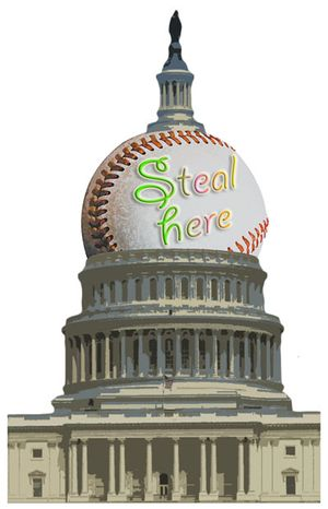 Illustration: Baseball dome by Greg Groesch for The Washington Times