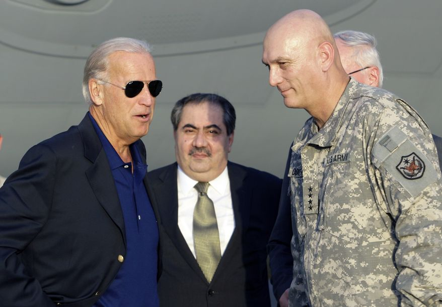 Vice President Joseph R. Biden Jr. (left) speaks with Iraqi Foreign Minister Hoshyar Zebari (center) and Gen. Raymond T. Odierno (right), the top U.S. commander in Iraq, in Baghdad on Monday, Aug. 30, 2010. Mr. Biden returned to Iraq to mark this week's formal end to U.S. combat operations and to push the country's leaders to end a six-month postelection stalemate blocking the formation of a new government. (AP Photo/Hadi Mizban)