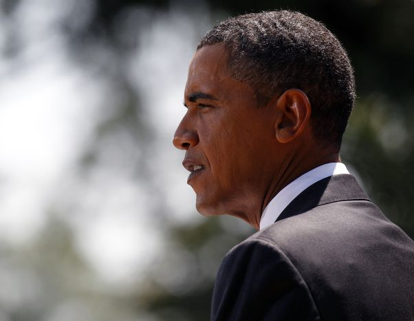 President Obama makes a statement Monday on the economy in the Rose Garden of the White House. (Associated Press)